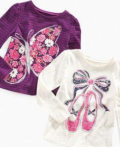 So Jenni Kids Top, Little Girls Long-Sleeve Glitter Graphic Tees - Kids Tops & Sweaters - Macy's