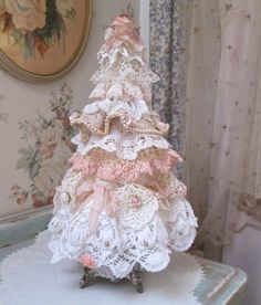 shabby chic lace christmas tree 17 tall by TheGirlyCottage on Etsy