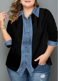 Plus Size Shirts For Women Turndown Collar Button Up Plus Size Shirt Plus Size Tops For Women Turndown Collar Button Plus Size Shirts, Plus Size Tops, Yellow Plaid Shirt, Black Cardigan, Mode Kimono, African Blouses, Casual Tops For Women, Collar Shirts, Colorful Fashion