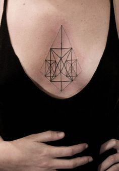 Sternum tattoo is a perfect choice for the ladies. Check out these beautiful sternum tattoo ideas! Sternum Tattoo Design, Geometric Tattoo Design, Sternum Tattoos, Geometric Symbols, Geometric Shapes, Shape Tattoo, Geometric Origami, Placement Tattoo, Design Tattoos