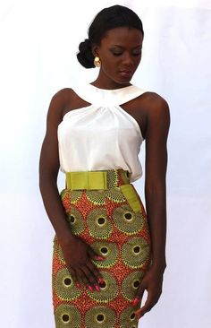 Shop Online skirt # African Fabric **want the top** Love the colour combo African Inspired Fashion, African Print Fashion, Africa Fashion, Ethnic Fashion, Fashion Prints, Fashion Design, African Prints, Ankara Fashion, African Attire