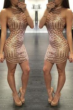 High Fashion Sheath High Neck Sleeveless Sequin Short Homecoming Dress PM341