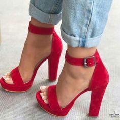 Heels Trendy Shoes Fashion – Chaussures à talons Dream Shoes, Crazy Shoes, Pumps Heels, Stiletto Heels, High Heels Sandals, Red Sandals, Red High Heels, Flats, Red Heel Shoes