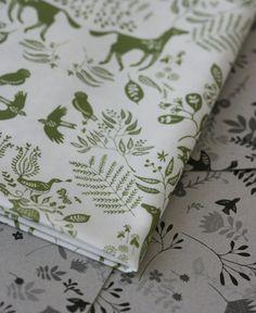 Snowy River Damask Fabric  Olive on White  by LilaRubyKingShop, $9.00