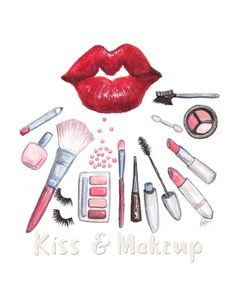 Simple Fashion Watercolor Illustration print, Red Lips kiss and makeup brushes and cosmetics , Chic wall decoration, chic art, play on words by KariSketches on Etsy https://www.etsy.com/listing/275666970/simple-fashion-watercolor-illustration
