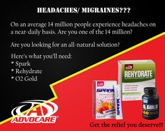 Kick those nasty headaches will an all-natural product. #Advocare - Under Active is Spark and Rehydrate - Under Performance Elite is O2 Gold