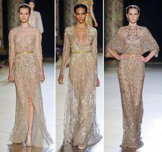 A coleção outono-inverno 2012 de Elie Saabtraz muita transparência, fluidez e bordados ton sur ton em vestidos com o glamour e delicadeza característicos