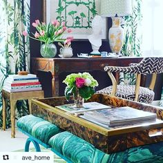 #Repost @ave_home with @repostapp ・・・ This is a gorgeous #OneRoomChallenge space by the über-talented Paige Minear of The Pink Clutch blog! Love spying our Audrey Butler Tray and Stand with a tortoiseshell finish by @eljfinefinishes on the beautiful stools. The piece has a collapsible base and removable tray for ease in use - you can also put it back together for a glam bar cart for your next gathering! Be sure to head to Paige's blog to see the beautiful #masterbedroom she designed! #Repost…