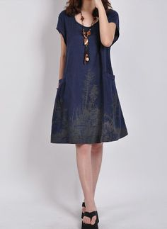 Showmyfashion women summer embroidery dress Dark Blue loose dress vintage casual clothing women blouse plus size sundress