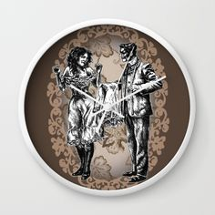 """""""I Lost A Bet..."""" Victorian Style Pin Up (Chocolate) Wall Clock  Brown Vintage Sepia Floral Illustration Drawing Edwardian Old Fashioned Time Retro Victoriandustrial Black Frame Steampunk Home Decor Pillow Couch Apartment Unique Art Artistic Drawing Floral Pattern Pen Ink Classic Old Timey Society6 Online Shop Store Decorate Personalized White Frame White Hand"""