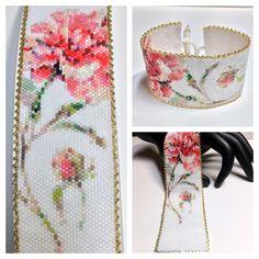 Bead Embroidered Bracelet, Beaded Cuff Bracelet, Bead Loom Bracelets, Beaded Bracelet Patterns, Peyote Patterns, Beading Patterns, Beaded Jewelry, Jewellery, Fuse Beads