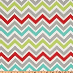"56"" Wide Premier Prints Zoom Zoom Twill Harmony Fabric By The Yard - freshen up your stripe with an orderly set of color changes. Love the repeat pattern here, with grey red grey turquoise grey green grey. Rinse. Repeat. It gives it a little more of a party vibe than just a straight chevron pattern."