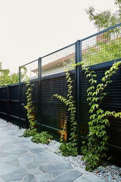 Bordure de jardin : des exemples inspirants - Côté Maison Backyard Fences, Garden Fencing, Backyard Landscaping, Backyard Privacy Trees, Deck Privacy Screens, Driveway Fence, Metal Garden Gates, Landscaping Edging, Mesh Fencing