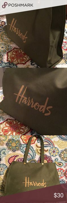 """Harrod's classic green shopper tote Beautiful canvas like material in olive green with gold lettering. Two gold snaps just below both handles for closure. Tag inside reads """" PVS coated rayon"""". In excellent vintage condition, like new in fact! harrods Bags Totes"""