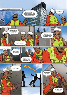 Safety cartoon: working at height Safety Cartoon, Safety Message, Safety Posters, Radio Frequency, Health And Safety, Uae, Animation, Projects, Log Projects