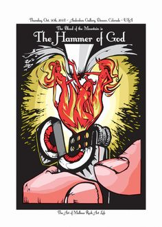 """#Malleus: """"HAMMER OF GOD"""" - Art print realized in Denver (USA) by Lindsey Kuhn for the Malleus US tour 2008. Run: 120.Technique: 3 colours silkscreen on white paper. Size: cm 50x70 Markings: Signed and Numbered. €60.00"""