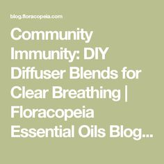 Community Immunity: DIY Diffuser Blends for Clear Breathing | Floracopeia Essential Oils Blog & Events