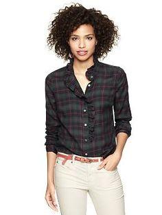 Fitted boyfriend flannel ruffle shirt   Gap