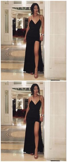 A-Line V-neck Sleeveless Black Prom Dress  by Ai prom dresses, $102.82 USD Black Prom Dresses, Perfect Fit, Custom Made, Beautiful Dresses, Evening Dresses, Party Dress, V Neck, Black Ball Dresses, Evening Gowns Dresses