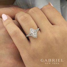 14k White Gold Marquise Entwined Halo Diamond Engagement Ring