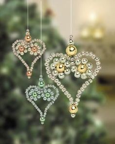 decorate low hanging tree branches with these glass bead hearts...when the sun hits them they will sparkle in the light...so pretty.
