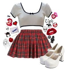 A fashion look from December 2013 featuring cropped white shirt, short plaid mini skirt and black white jewelry. Browse and shop related looks. Kpop Fashion Outfits, 70s Fashion, Girl Fashion, Womens Fashion, 1990s Outfit, Cool Outfits, Casual Outfits, Sherlock, Divas