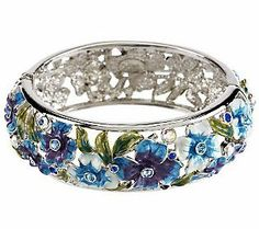 Joan Rivers Enamel Impatiens Hinged Bangle