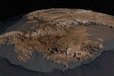Antartica's underlying topography is revealed in a new map. (Vertical scale has been magnified by a factor of 17.)