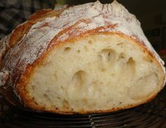 Five minute loaf of bread.New York Times recipe from 2006 no knead bread. Begin late in afternoon of day before baking. Bread Bun, Bread Cake, Bread Rolls, Easy Bread, Loaf Of Bread, Sourdough Bread, Bread Machine Recipes, Bread Recipes, Cooking Recipes
