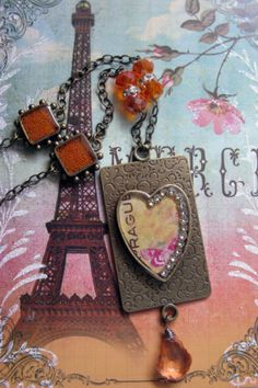 Large Heart Pendant Necklace Orange Pink by MaggieMarieCreations, $32.00