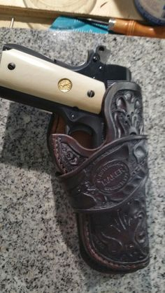 Fully Tooled Loop-Style Holster for a Large-Frame Semi-Auto Pistol. 1911 Leather Holster, Gun Holster, 1911 Pistol, Colt 1911, Western Holsters, M1911, Custom Holsters, Knife Sheath, Pew Pew