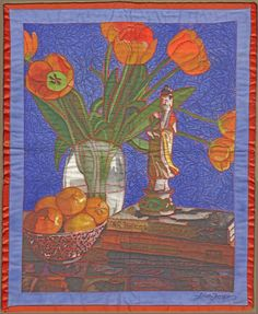 Still Life with Oranges and Tulips,I drew this on my iPad then printed it on fabric the free motion quilted it.