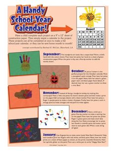 ... calendars for the entire school year ideas for all 12 months included