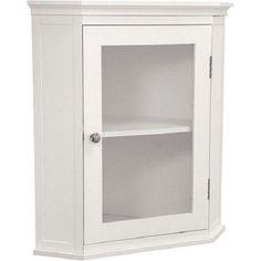 Corner Storage Cabinet White Glass Door Shelf Organizer MDF Wood Furniture Home #CornerStorageCabinet #Modern