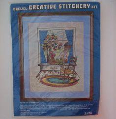 VTG Vogart 2126 WINDOW VIEW Crewel Embroidery KIT Creative Stitchery NEW