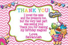Shopkins Birthday Thank you card available at www. Shopkins Birthday Thank you card available at www. Personalized Thank You Cards, Free Thank You Cards, Custom Thank You Cards, Shopkins Invitations, Birthday Party Invitations, Shopkins Bday, Shopkins Cake, 6th Birthday Parties, 7th Birthday