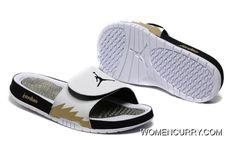 dbac30e94238 Air Jordan Hydro 5 White Gold Black Slide Sandals. Adidas ShoesNike ...