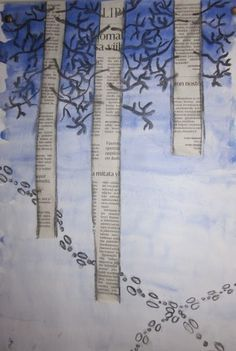 Using old texts for the silver birch tree trunks is really effective. What a clever idea 💡 Winter Art Projects, School Art Projects, Newspaper Art, 4th Grade Art, Preschool Art, Art Classroom, Art Activities, Elementary Art, Teaching Art