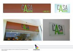 Projeto Placa em ACM Imit. Madeira e Vidro com letras em PVC Expandido pintadas ( Casa a Dentro)