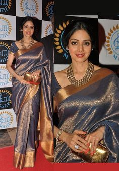 Sreedevi in Gorgeous Grey Bridal Saree Celebrity Sarees, Designer Sarees, Bridal Sarees, Latest Blouse Designs 2014 South India Fashion Bridal Silk Saree, Saree Wedding, South Indian Bride, Indian Bridal, Indian Dresses, Indian Outfits, Kanjivaram Sarees, Banarsi Saree, Silk Sarees