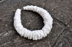 Felted necklace, fibre art, gift, white, felted slices