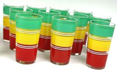 Vtg Retro Antique Juice Water Drinking Glasses Tumbler Striped Painted Glassware