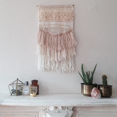 boho chic hanging wall weaves interior design home decor Weaving Projects, Weaving Art, Loom Weaving, Tapestry Weaving, Dreams Catcher, Deco Boheme, Woven Wall Hanging, Hanging Art, Diy Wall