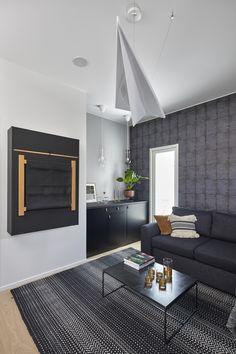 Porin asuntomessut 2018, Designtalo Noste. #designtalo #asuntomessut Decor, Furniture, Room, Ceiling Lights, Contemporary, Home Decor, Room Divider, Contemporary Rug
