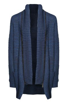 "Warmth and Style abound in this Shawl Collared tunic length comfy Sweater! Cable knit melange. Fitted sleeves, two front side pockets and the Draping Collar that actually Zips off to create a plain cardigan look to pair with your favorite scarf! Rich Cobalt Blue! Two Sweaters in One. Machine Washable. Back Center    Measurements: length measures 31""   Cobalt Melange Cardigan by Dex Clothing. Clothing - Sweaters - Cardigans New Jersey"
