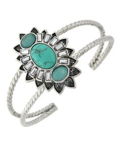 Another great find on #zulily! Turquoise & Silvertone Spike Oval Cuff Bracelet #zulilyfinds