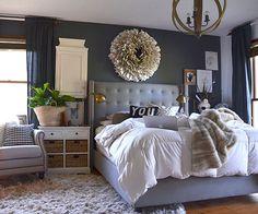One dark wall, bedroom?