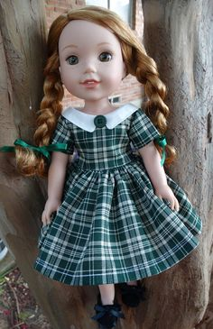 "14.5"" Doll Clothes 1950's Style Back To School Dress Fits American Girl Wellie Wishers"