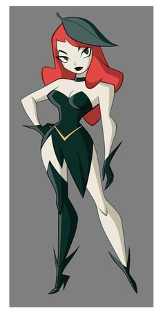Poison Ivy is an eco-terrorist and an enemy of Batman. She is voiced by Natasha Leggero. Comic Book Artists, Comic Book Characters, Comic Artist, Disney Characters, Comic Villains, Bruce Timm, Poison Ivy Dc Comics, Poison Ivy Cartoon, Character Art
