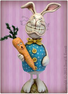 Angry Bunny by Chicken Lips Folk Art, via Flickr